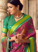 Multi Colour Print Patola Silk  Traditional Saree