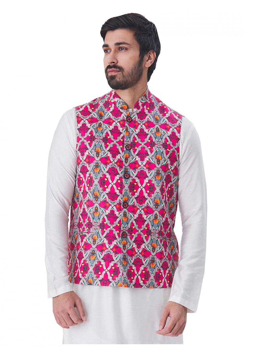 Multi Colour Print Satin Nehru Jackets