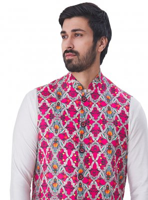 Multi Colour Print Satin Nehru Jackets