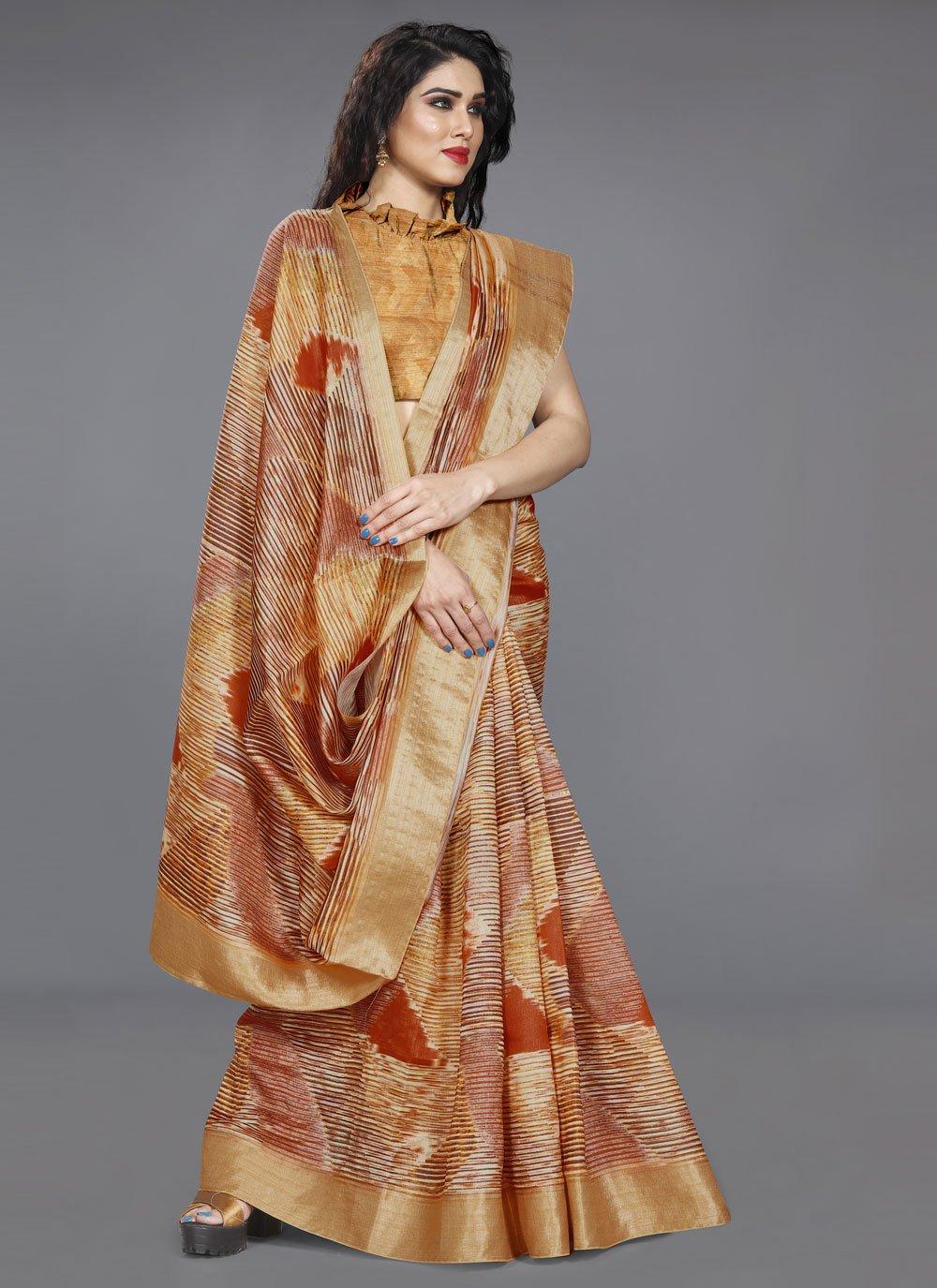 Multi Colour Print Traditional Saree