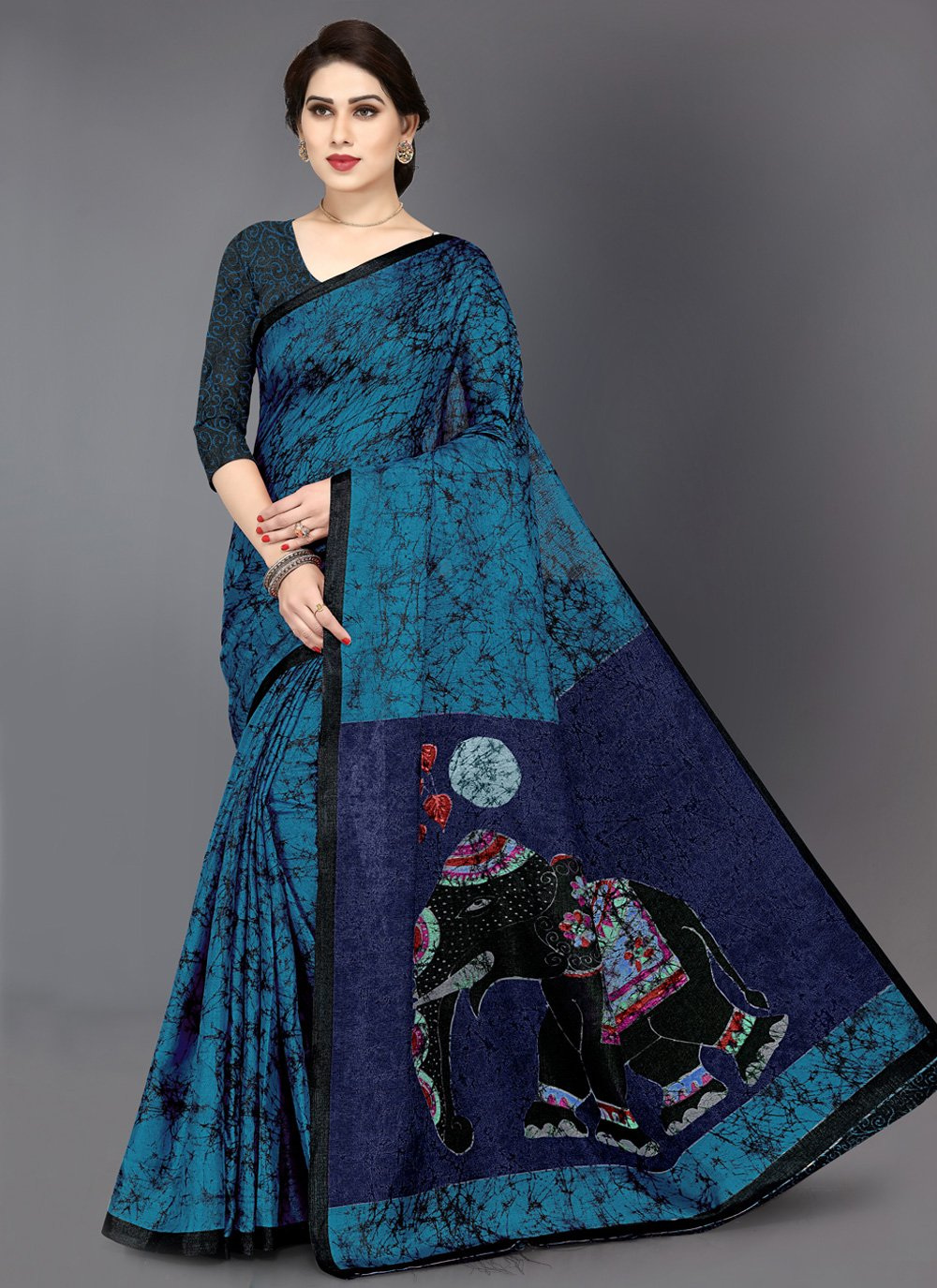 Multi Colour Printed Contemporary Saree