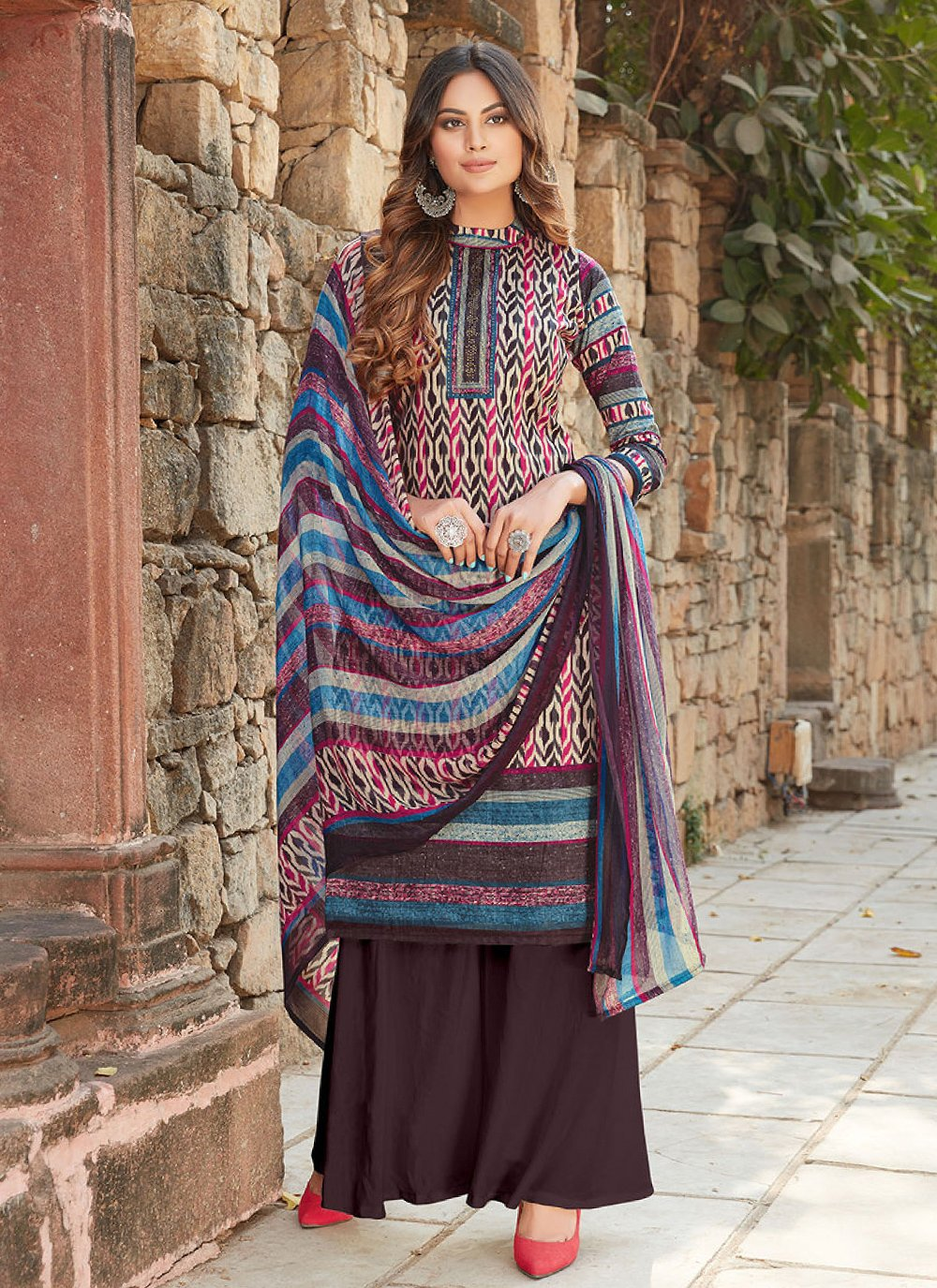 Multi Colour Printed Cotton Designer Palazzo Salwar Kameez