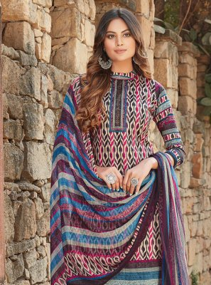 Multi Colour Printed Cotton Designer Palazzo Salwar Kameez