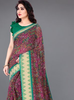 Multi Colour Printed Cotton Printed Saree