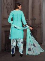 Multi Colour Printed Crepe Silk Punjabi Suit