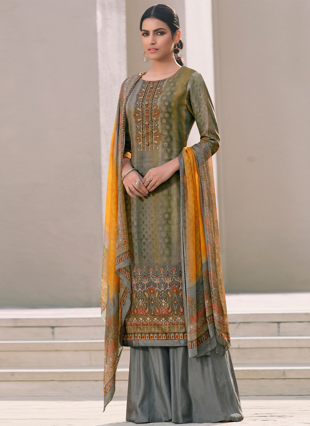 Multi Colour Printed Designer Palazzo Salwar Suit