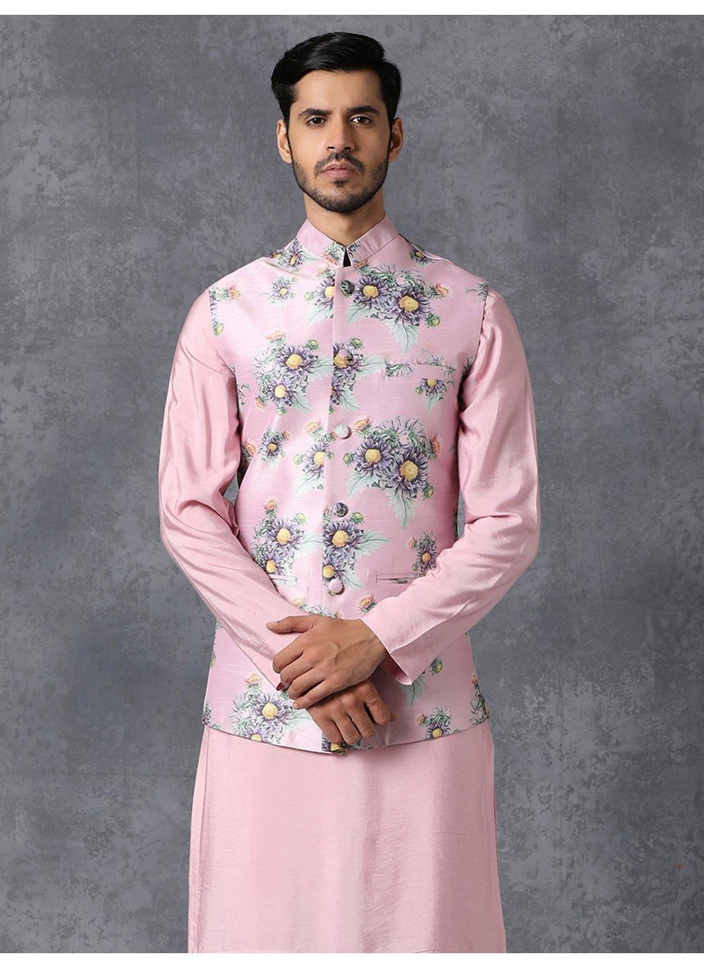Multi Colour Printed Engagement Nehru Jackets