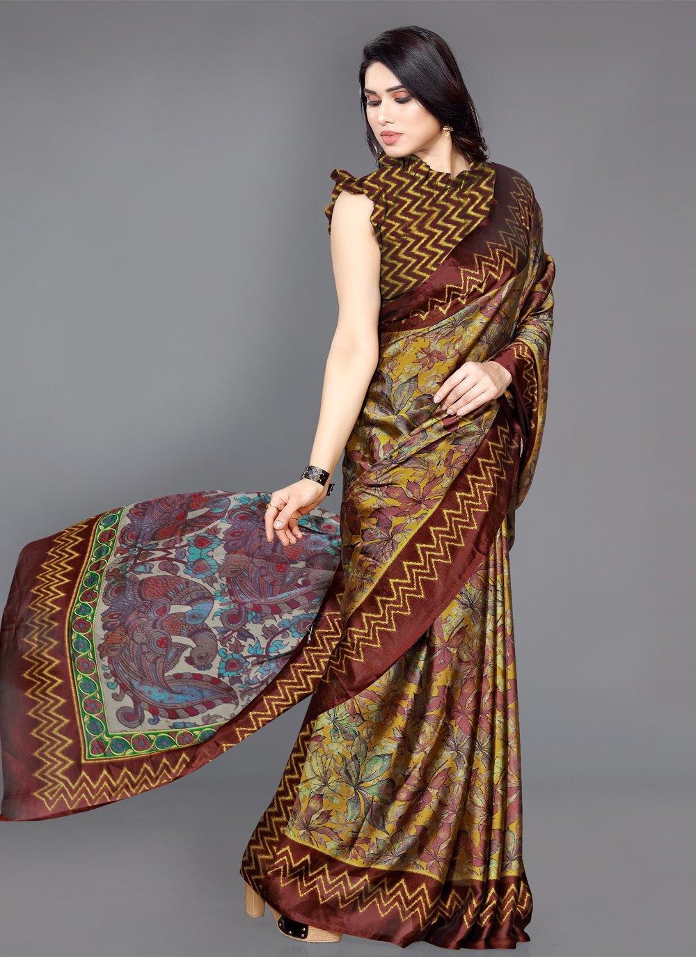 Multi Colour Printed Faux Chiffon Traditional Saree