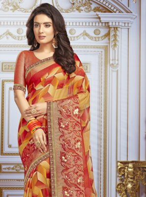 Multi Colour Printed Georgette Bollywood Saree