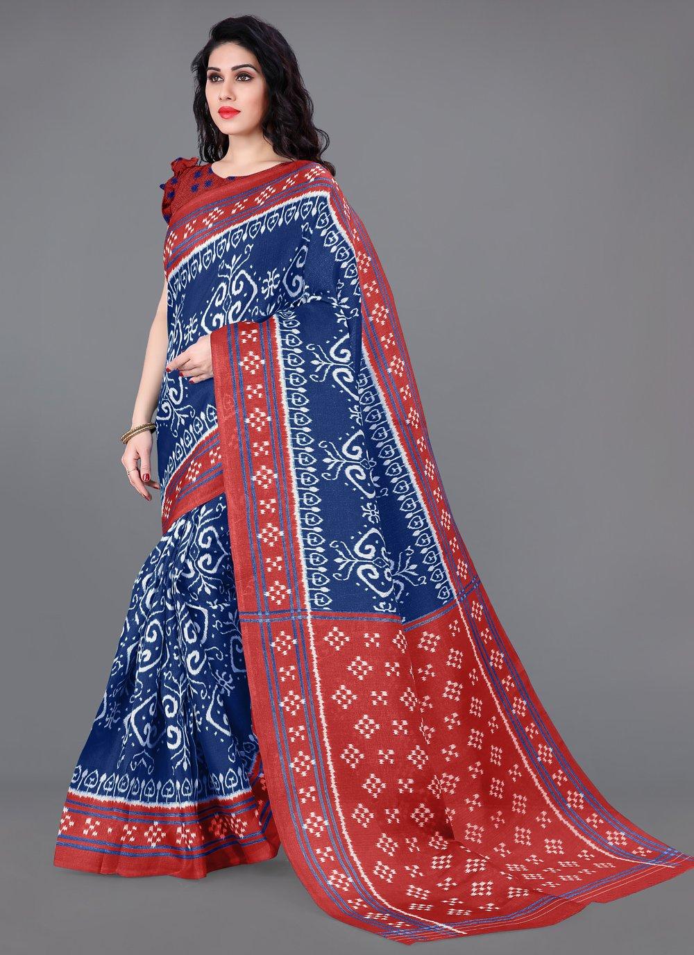 Multi Colour Printed Khadi Silk Printed Saree