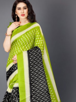 Multi Colour Printed Khadi Silk Trendy Saree