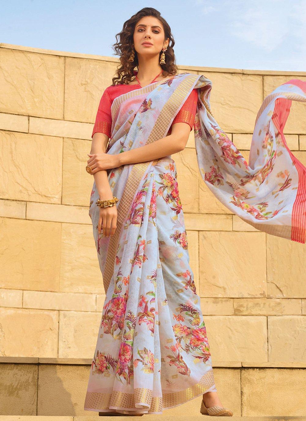 Multi Colour Printed Linen Printed Saree