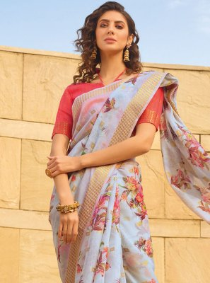 Multi Colour Printed Linen Printed Saree