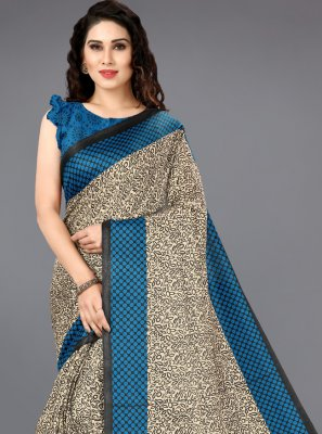 Multi Colour Printed Party Casual Saree