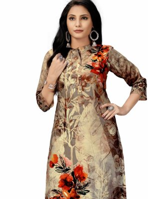 Multi Colour Printed Polyester Party Wear Kurti