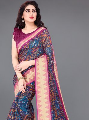 Multi Colour Printed Printed Saree
