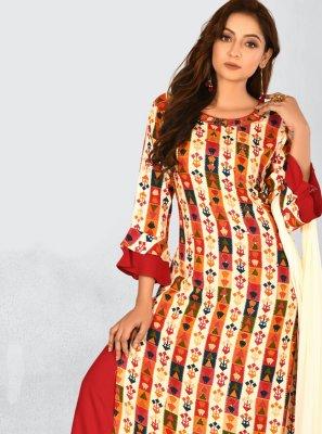 Multi Colour Printed Rayon Designer Salwar Kameez