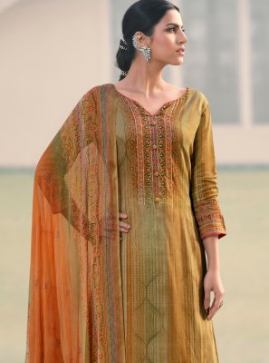 Multi Colour Printed Satin Designer Palazzo Suit