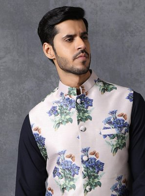 Multi Colour Printed Satin Nehru Jackets