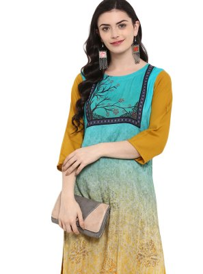 Multi Colour Rayon Casual Kurti