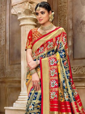 Multi Colour Resham Patola Silk  Designer Traditional Saree