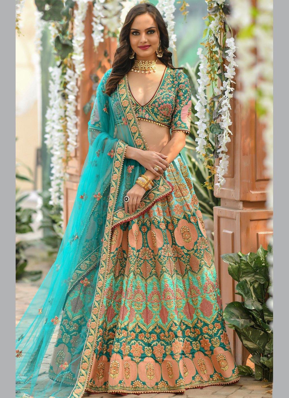 Multi Colour Resham Silk A Line Lehenga Choli
