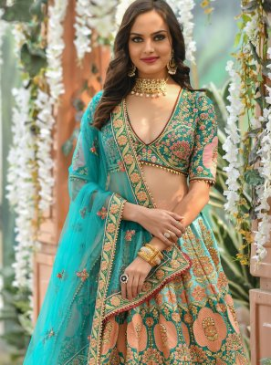 Multi Colour Resham Silk A Line Lehenga Choli