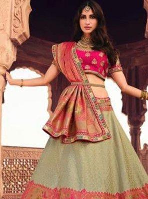 Multi Colour Resham Silk Lehenga Choli