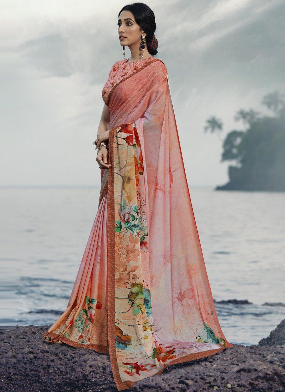 Multi Colour Satin Silk Ceremonial Printed Saree