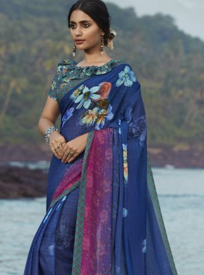 Multi Colour Satin Silk Ceremonial Printed Saree