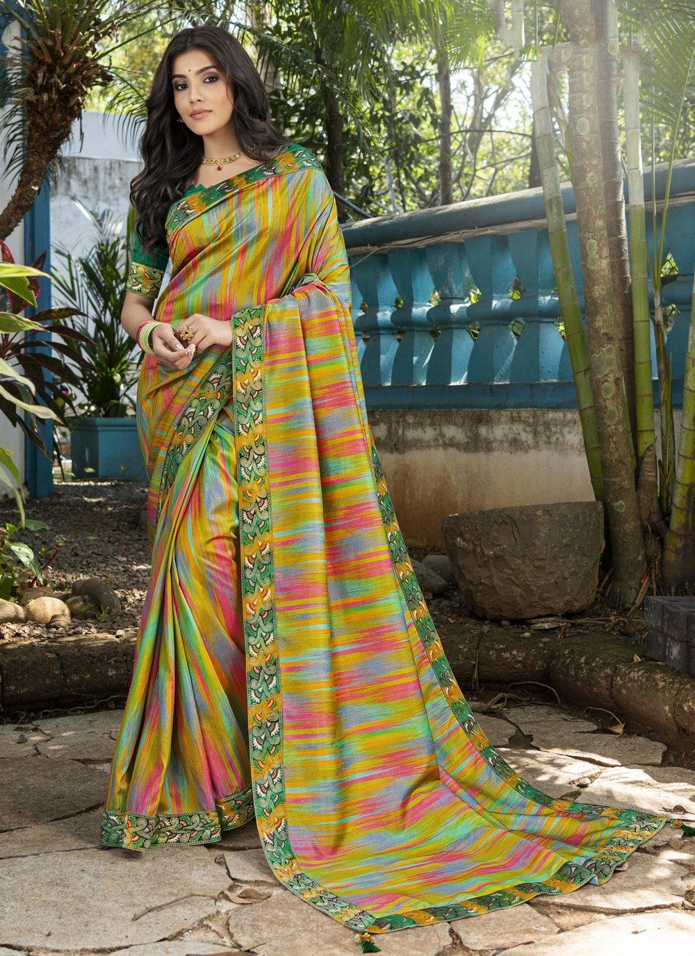 Multi Colour Silk Digital Print Contemporary Saree