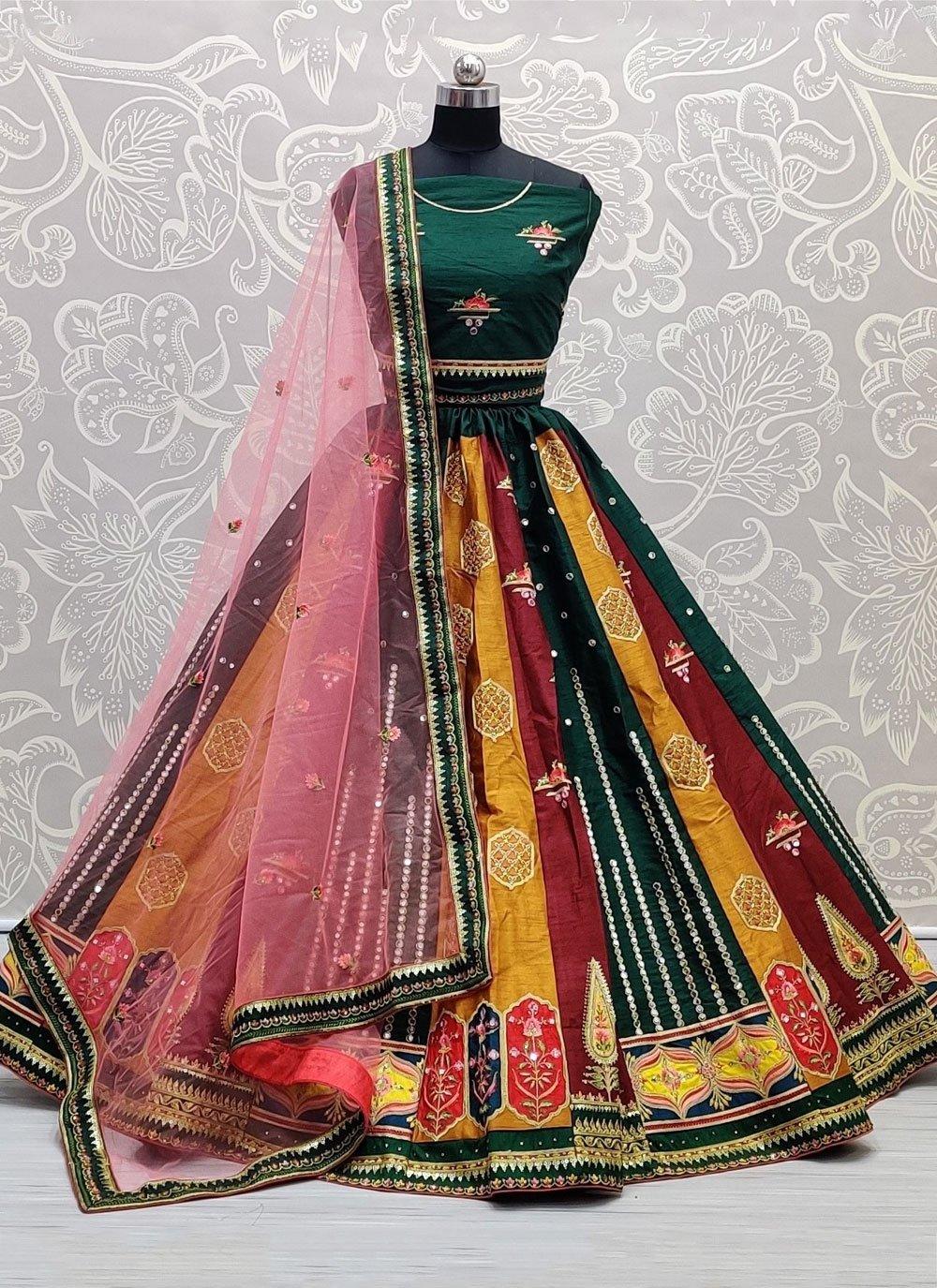 Multi Colour Silk Mehndi Lehenga Choli