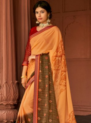 Multi Colour Silk Printed Saree