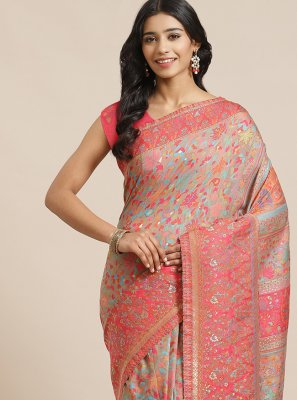 Multi Colour Silk Traditional Designer Saree