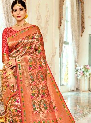 Multi Colour Weaving Banarasi Silk Traditional Designer Saree