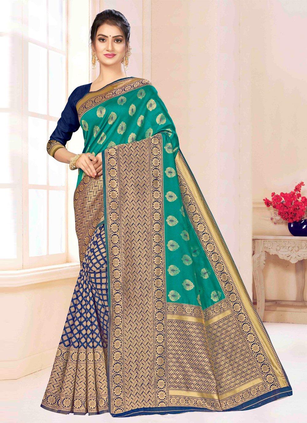Multi Colour Weaving Contemporary Saree