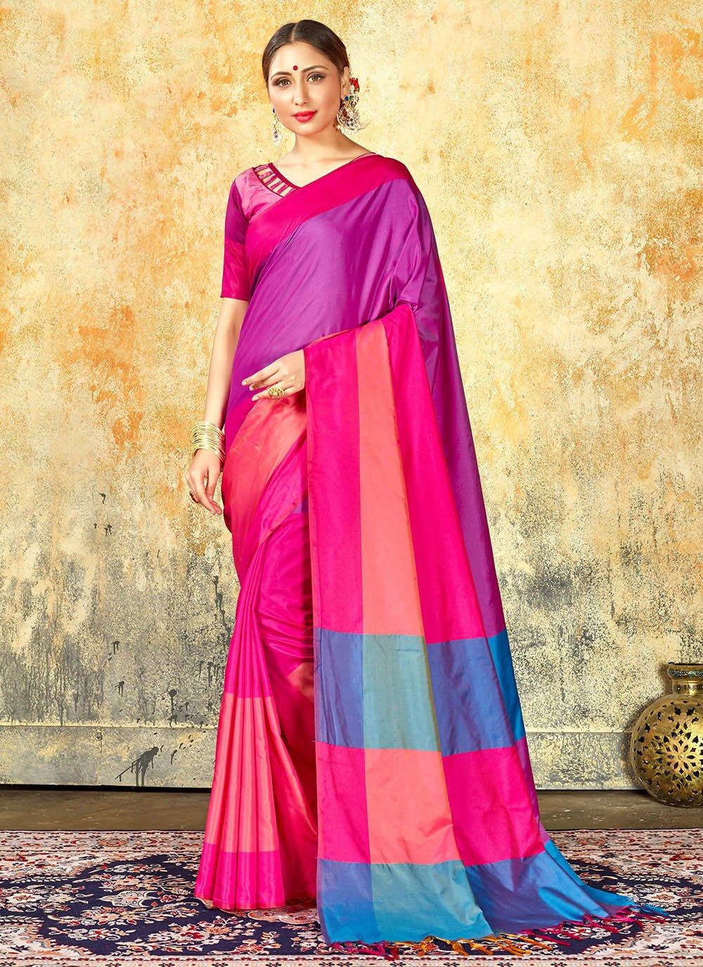 Multi Colour Weaving Cotton Silk Silk Saree