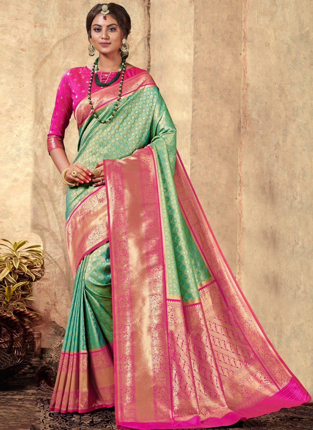 Multi Colour Weaving Silk Traditional Saree