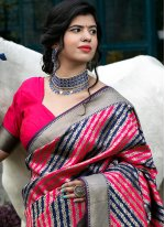 Multi Colour Wedding Banarasi Silk Designer Traditional Saree