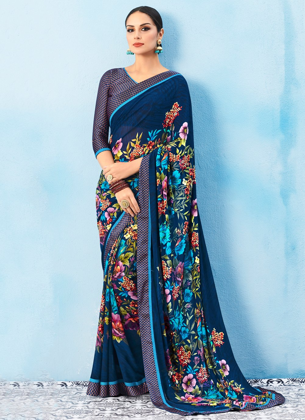 Multi Colour Weight Less Abstract Print Casual Saree