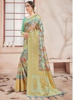 Multi Colour Woven Art Banarasi Silk Printed Saree