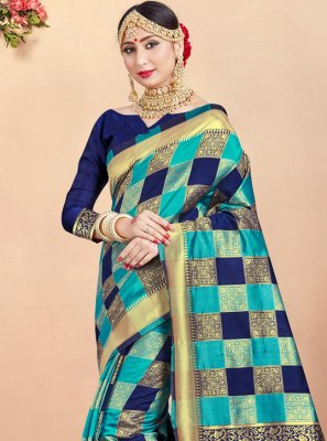 Multi Colour Woven Festival Designer Traditional Saree