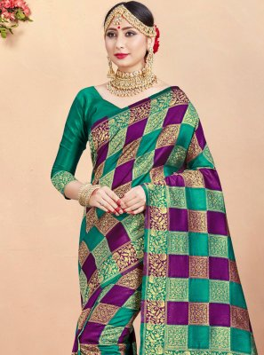 Multi Colour Woven Traditional Designer Saree