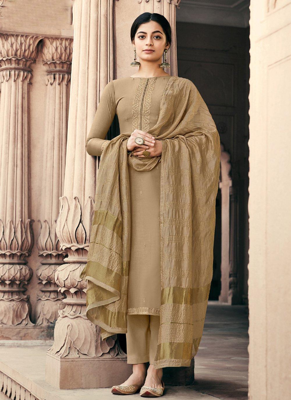 Muslin Brown Embroidered Designer Palazzo Salwar Suit