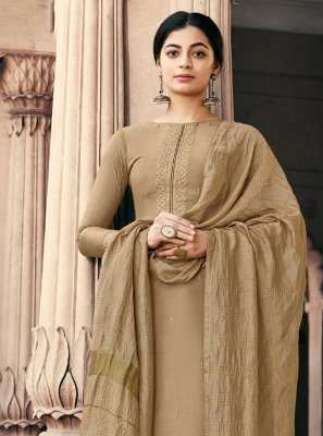 Muslin Brown Embroidered Designer Palazzo Salwar Suit