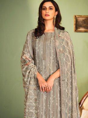 Muslin Designer Palazzo Salwar Suit in Grey