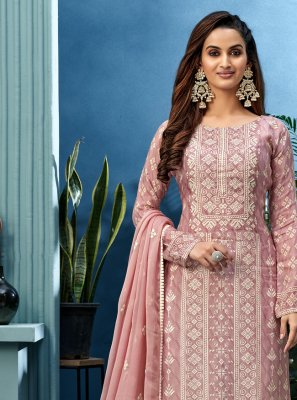 Muslin Designer Palazzo Suit in Pink