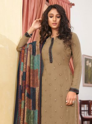 Muslin Designer Straight Suit in Beige