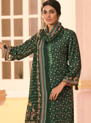 Muslin Digital Print Green Bollywood Salwar Kameez