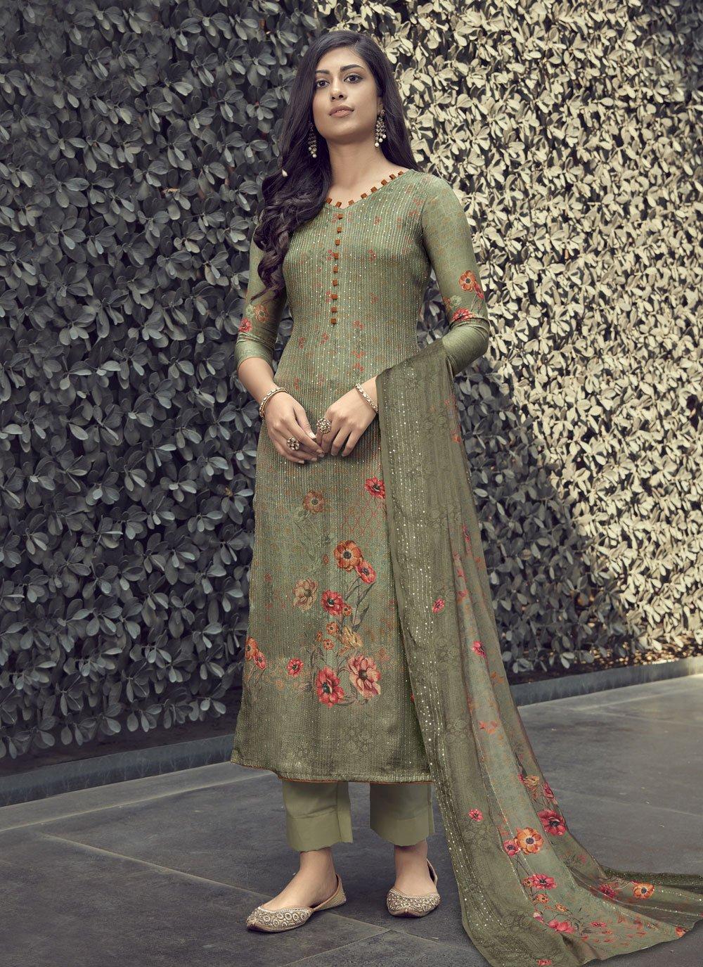 Muslin Green Designer Palazzo Salwar Suit